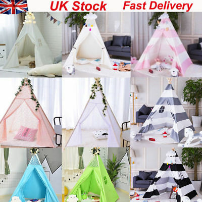 Large Canvas Tepee Indian Wigwam Indoor Garden Portable Childrens Kids Play Tent