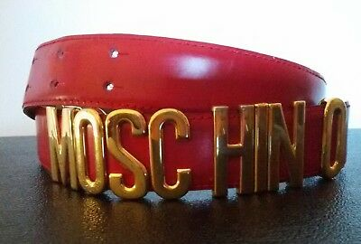 MOSCHINO by Redwall WOMENS ICONIC RED LEATHER BELT GOLD LETTERS VINTAGE 1990s