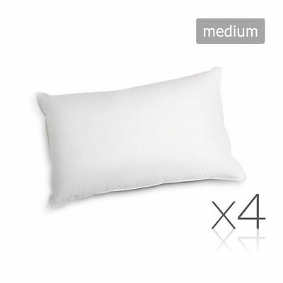 Family 4 Pack Bed Pillows Medium Cotton Cover 48X73CM Brand New #HT