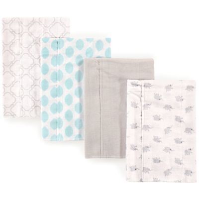Luvable Friends Baby Layered Flannel Burp Cloth, Elephants 4Pk, One Size