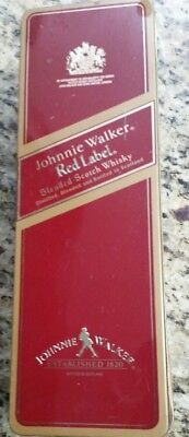 VINTAGE JOHNNY WALKER RED LABEL WHISKY TIN EMPTY CAN with attached LID