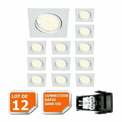 Lot De 12 Spot Encastrable Orientable Carre Led Smd Gu10 230V Blanc Rendu