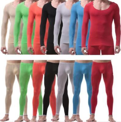 2PC Ice Silk Men's Stretch Thermal Underwear Ultra Long Johns Pants Top T-shirt
