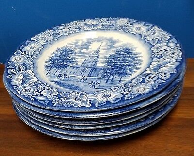"STAFFORDSHIRE china Liberty Blue dinner plates set of 6, 10"" - 3 w/ clean craze"