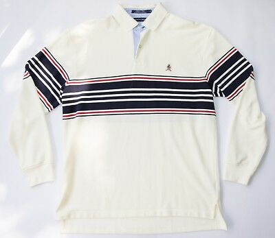 Vintage Tommy Hilfiger Embroidered Emblem Striped French Terry Collared LARGE