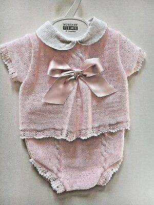 Baby Girl outfit knitted bow detail gift BNWT newborn/ 0-3/3-6 M was £20 now £15