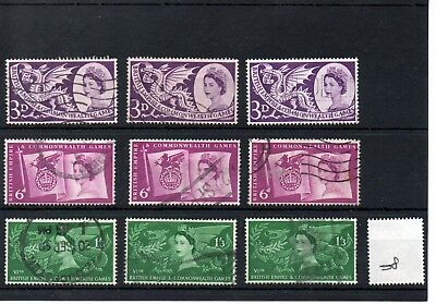 Gb - Wholesale Commems - 1958 - (008) - Commonwealth Games - Three Sets - Used