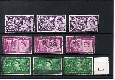 Gb - Wholesale Commems - 1958 - (010) - Commonwealth Games - Three Sets - Used
