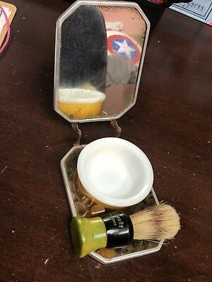 Vintage/Antique Ever-Ready Travel Shaving Kit With Brush, Bowl And Mirror