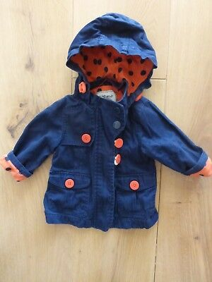 Next 6 to 9 month baby girl blue cotton jacket with hood good condition