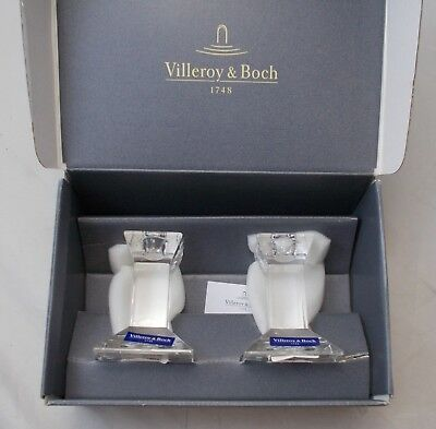 Villeroy and Boch - 2 candlesticks / candle holders - PISA - boxed - NEW 10cm