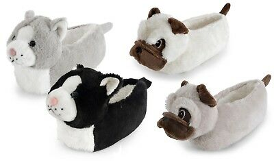 Childrens Girls Boys 3D Dog Cat Novelty Animal Slippers - Grey Black - Size 9-12