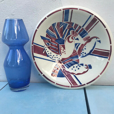 Art Deco Badonviller Serving Dish Fruit Bowl Bird Peacock