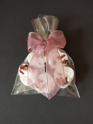 5 Heart Rose Scented Bath Bombs with Light Pink Ribbon...Christmas...Gift...