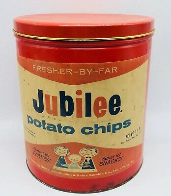 Jubilee Potato Chips Vintage 1 Pound Metal Tin Round Canister Container Red USA