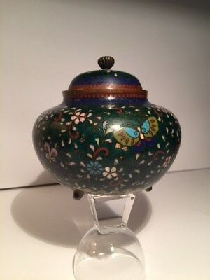 Antique Japanese Meiji Period Cloisonne Tea Caddie / Jar