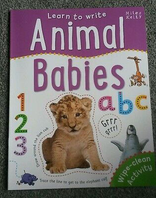 Animal Babies Learn to Write children's wipe clean book early learning preschool