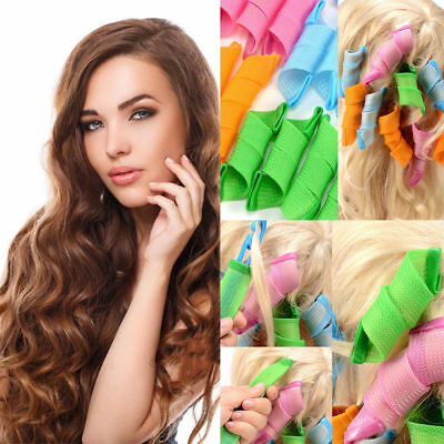 18PCS Long Hair Curlers Curl Formers Leverage Rollers Spiral lot Beauty UK
