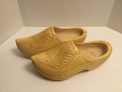 Authentic Dutch Wooden Clogs Varnished Handmade Hand Engraved Size 43