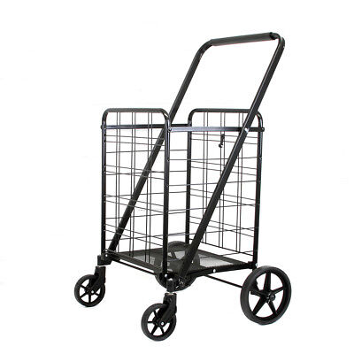 Black Heavy Duty Portable Folding Shopping Utility Cart Trolley Steel 14 Lbs