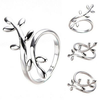 Fashion Women Jewelry Silver Plated Jewelry Leaf Open Finger Ring US Size Nice