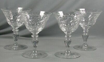 4 Vtg Hawkes Cut Glass Crystal Champagne Tall Sherbert Wine Glasses