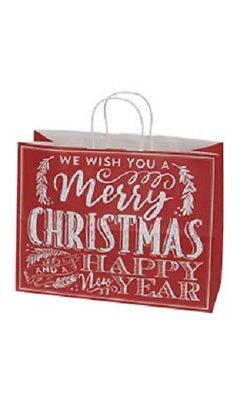 """25 Christmas Chalkboard Paper Shopping Bags 16"""" x 6"""" x 12 ½"""" Red Merchandise"""
