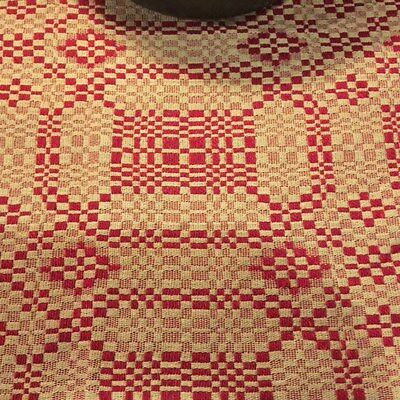 """Primitive Table Runner Cranberry Red & Tan  14"""" x 56'' Woven Early Look"""