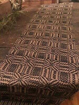 """Primitive Table Runner Black & Tan  14"""" x 54'' Woven Early Look Homestead"""