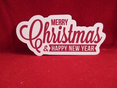12 Printed Merry Christmas And Happy New Year Die Cuts......cardmaking