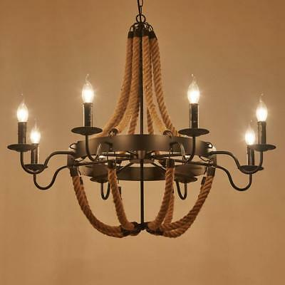 Industrial Wind Candle Hemp Chandelier Wrought Iron Bar Pendent Lamps Lighting