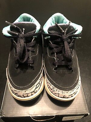 1f15bd2f0178bb NIKE AIR JORDAN RETRO 3 Girls TODDLER BLACK GRAY MINT GREEN (sz 9c ...