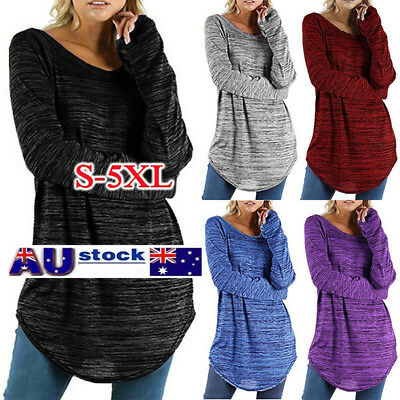 Women Plus Size Casual Long Sleeve Blouse Pullover Top  Shirt  Jumper Size S-5XL