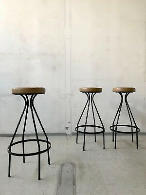 1of3 VINTAGE RETRO MID CENTURY 50s 60s 70s BAR STOOL WROUGHT IRON FAUX LEATHER
