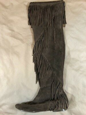a504cb2f14c5 Sam Edelman Uri Knee High Tassel Fringe Brown Suede Boots Women s size 7.5