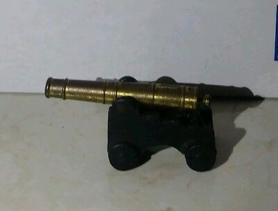 "Vintage Small Civil War Toy Cannon Cast Iron Brass 3"" Usa"