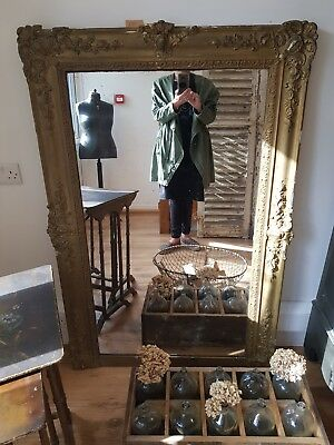 Large 19th Century Antique French Foxed Mirror Floorstanding