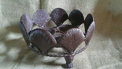 Ornate Shell Style Cast Iron Garden Planter Urn Footed Great Patina EUC