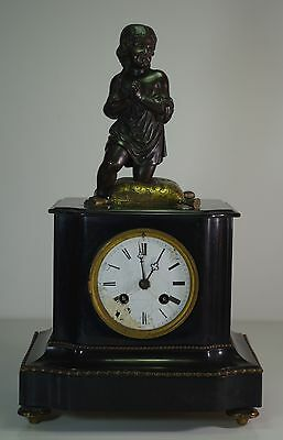 Antique French Mantle Clock XIX Bronze Praying Child Japy Freres