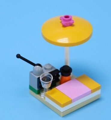 LEGO MINIFIG Umbrella Trans Pink with White Poll Beach Ocean Pool Summer