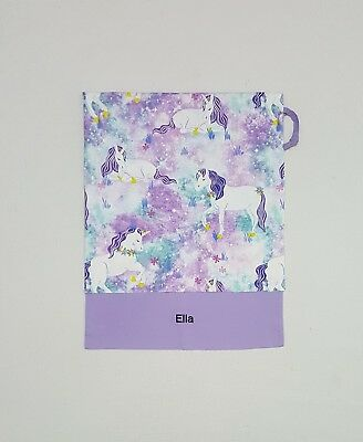 Free Name Beautiful Unicorn Purple Personalised Embroidery Library Bag Ff3009