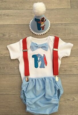 Baby Boys 1st Birthday Cake Smash Outfit. Blue And White. In The Night Garden.