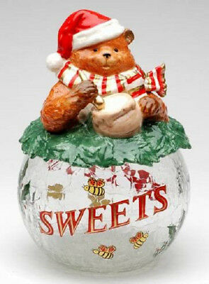 Holiday Bear Glass Cookie Jar Christmas Holiday Theme New in Box Free Shipping
