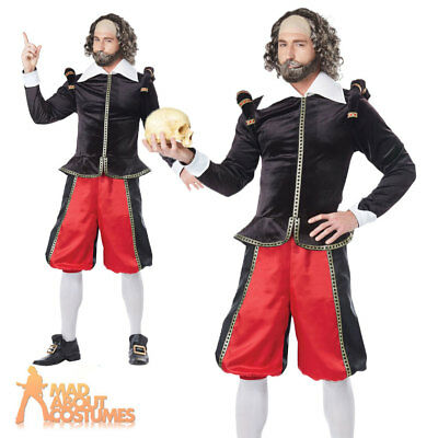 Adult Mens William Shakespeare Costume Historical Poet Tudor Fancy Dress Outfit