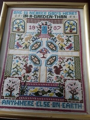 Vintage Cross Stitch Sampler 'One Is Nearer God's Heart In A Garden Than...