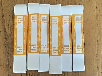 25  Self Sealing Yellow $1000 Currency Straps Money Bill Bands Alias Brand Band