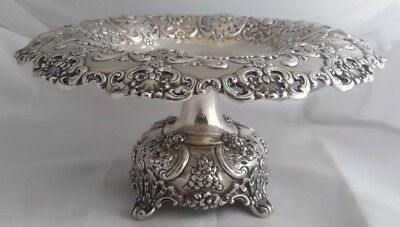 c1899 Fancy Tiffany Makers Sterling Silver Compote English King Pattern 1 of 4