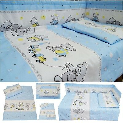 Teddy Bears Train Blue Nursery Baby Boy Cot/ Cot bed/ Toddler Bed Bedding Set