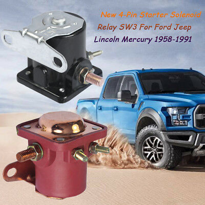 12V 4-Pin Starter Solenoid Relay SW3 For Ford Jeep Lincoln Mercury 1958-1991