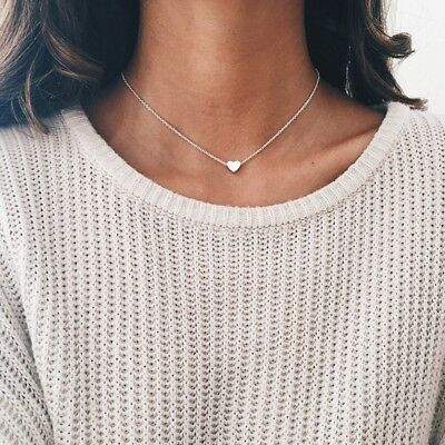SILVER HEART Necklace Pendant Beaded Chain Choker Heart Pendant Girls Women Gift